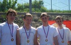 Участники конкурса - Виктор Никитин, Анатолий Батурин, Станислав Катков, Евгений Варов (слева направо)