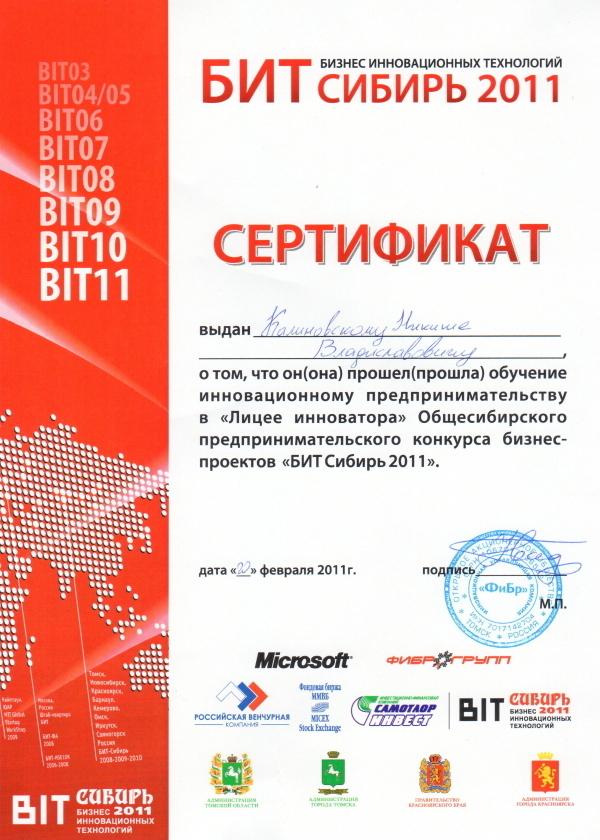 """Сертификат участника """"Лицея инноватора"""""""
