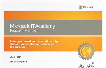 Центр международной IT-подготовки ТУСУРа продлил участие впрограмме Microsoft ITAcademy в2013–2014 учебном году