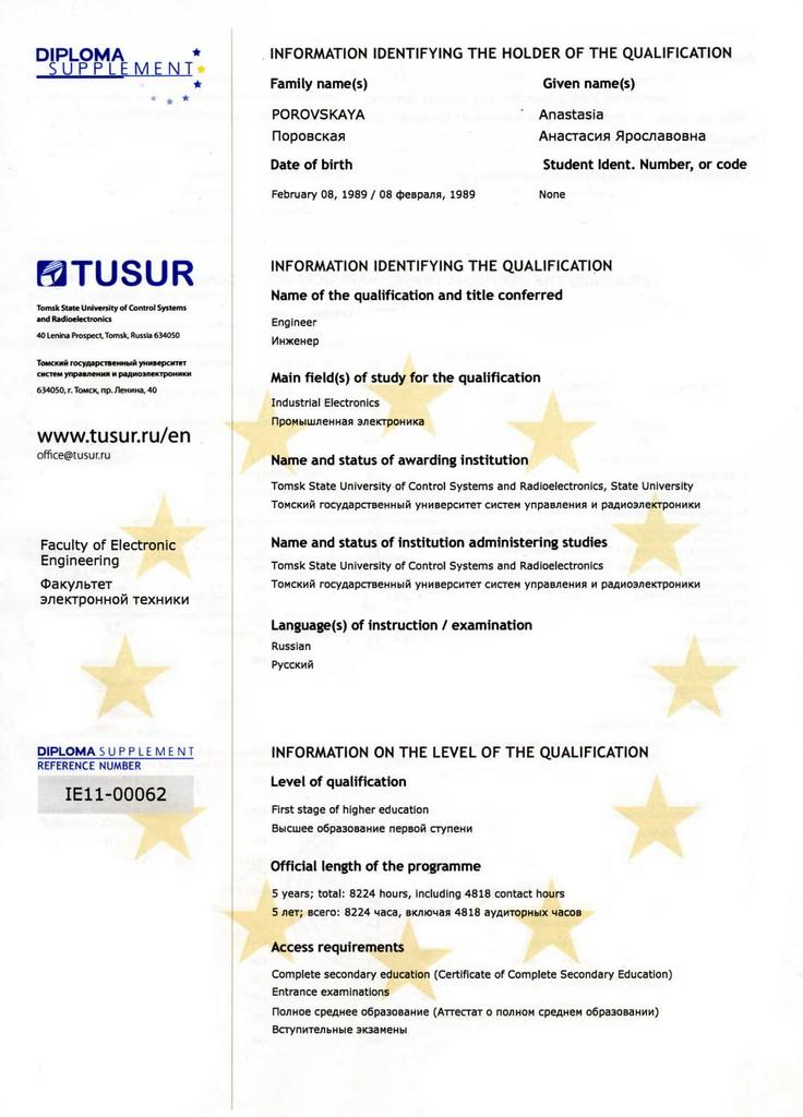 Образовательное сотрудничество Российское приложение к диплому во многом соответствует европейскому приложению поскольку его форма была также разработана в соответствии с рекомендациями
