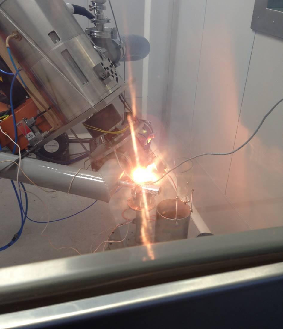 Фотография, иллюстрирующая процесс испарения оксида цинка