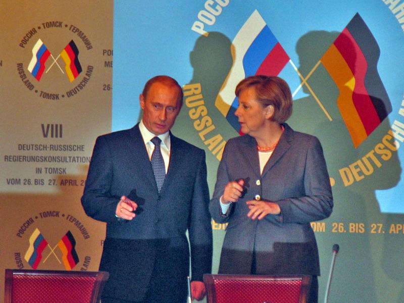 В. Путин и А. Меркель в стенах Дома учёных. Саммит, 2006 г.